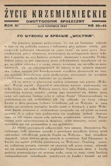 Życie Krzemienieckie : dwutygodnik społeczny. 1937, nr 10-11