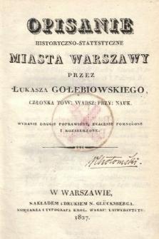 Opisanie historyczno-statystyczne miasta Warszawy