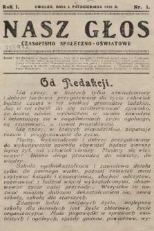 Nasz Głos : czasopismo społeczno-oświatowe. 1932, nr1