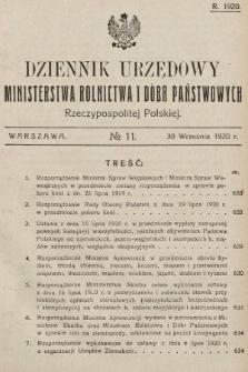 Dziennik Urzędowy Ministerstwa Rolnictwa i Dóbr Państwowych Państwa Polskiego. 1920, nr11
