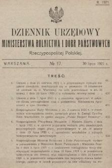 Dziennik Urzędowy Ministerstwa Rolnictwa i Dóbr Państwowych Państwa Polskiego. 1921, nr17