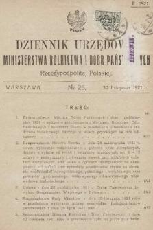 Dziennik Urzędowy Ministerstwa Rolnictwa i Dóbr Państwowych Państwa Polskiego. 1921, nr26