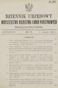 Dziennik Urzędowy Ministerstwa Rolnictwa i Dóbr Państwowych Państwa Polskiego. 1922, nr13
