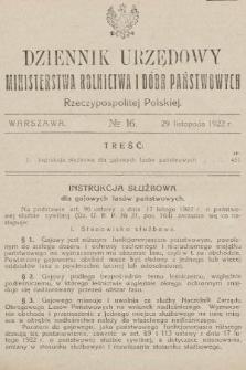 Dziennik Urzędowy Ministerstwa Rolnictwa i Dóbr Państwowych Państwa Polskiego. 1922, nr16
