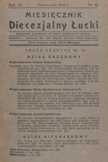 Miesięcznik Diecezjalny Łucki. 1928, nr 10