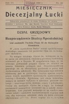 Miesięcznik Diecezjalny Łucki. 1928, nr 12