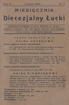 Miesięcznik Diecezjalny Łucki. 1929, nr 8