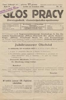 Głos Pracy : dwutygodnik chrześcijańsko-społeczny. 1931, nr 18
