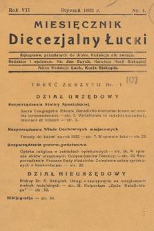 Miesięcznik Diecezjalny Łucki. 1932, nr 1
