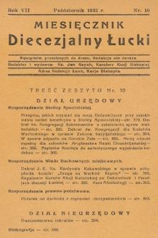 Miesięcznik Diecezjalny Łucki. 1932, nr 10