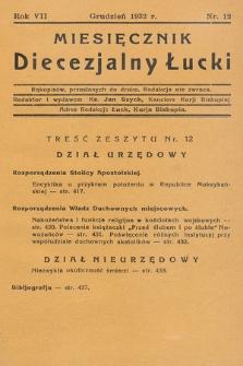Miesięcznik Diecezjalny Łucki. 1932, nr 12