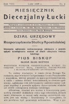Miesięcznik Diecezjalny Łucki. 1933, nr 2