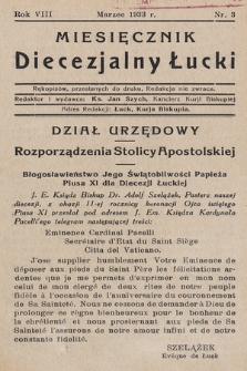Miesięcznik Diecezjalny Łucki. 1933, nr 3