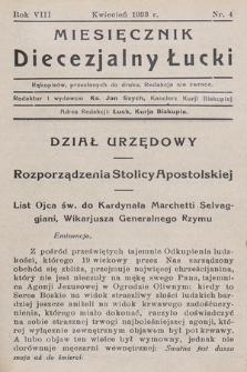 Miesięcznik Diecezjalny Łucki. 1933, nr 4