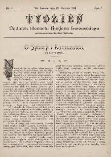 """Tydzień : dodatek literacki """"Kurjera Lwowskiego"""". 1899, nr4"""