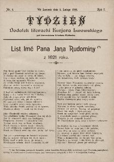 """Tydzień : dodatek literacki """"Kurjera Lwowskiego"""". 1899, nr6"""