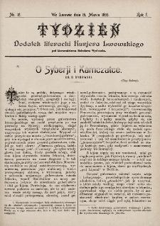 """Tydzień : dodatek literacki """"Kurjera Lwowskiego"""". 1899, nr12"""