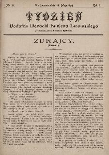 """Tydzień : dodatek literacki """"Kurjera Lwowskiego"""". 1899, nr22"""