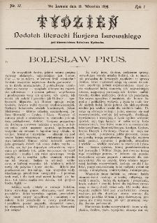 """Tydzień : dodatek literacki """"Kurjera Lwowskiego"""". 1899, nr37"""