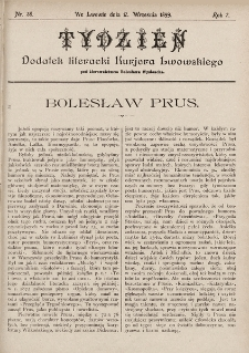 """Tydzień : dodatek literacki """"Kurjera Lwowskiego"""". 1899, nr38"""