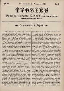 """Tydzień : dodatek literacki """"Kurjera Lwowskiego"""". 1899, nr42"""