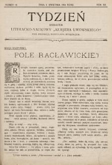 """Tydzień : dodatek literacko-naukowy """"Kurjera Lwowskiego"""". 1904, nr14"""