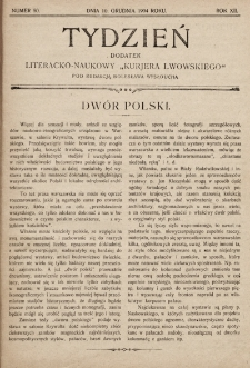 """Tydzień : dodatek literacko-naukowy """"Kurjera Lwowskiego"""". 1904, nr50"""