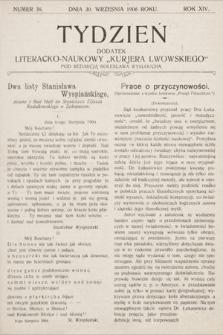 """Tydzień : dodatek literacko-naukowy """"Kurjera Lwowskiego"""". 1906, nr38"""