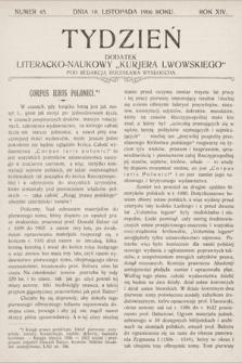 """Tydzień : dodatek literacko-naukowy """"Kurjera Lwowskiego"""". 1906, nr45"""