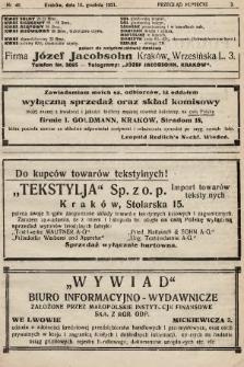 Przegląd Kupiecki : organ Krakowskiego Stowarzyszenia Kupców. 1921, nr46