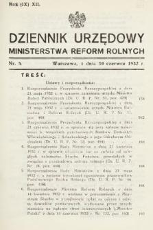 Dziennik Urzędowy Ministerstwa Reform Rolnych. 1932, nr5