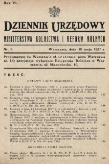 Dziennik Urzędowy Ministerstwa Rolnictwa i Reform Rolnych. 1937, nr5