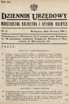 Dziennik Urzędowy Ministerstwa Rolnictwa i Reform Rolnych. 1938, nr6