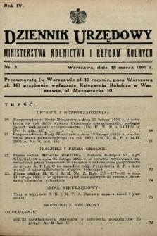 Dziennik Urzędowy Ministerstwa Rolnictwa i Reform Rolnych. 1935, nr3