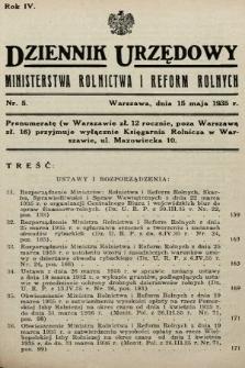 Dziennik Urzędowy Ministerstwa Rolnictwa i Reform Rolnych. 1935, nr5