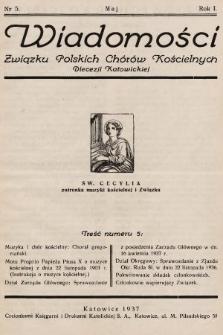 Wiadomości Związku Polskich Chorów Kościelnych Diecezji Katowickiej. 1937, nr5