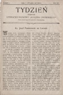 """Tydzień : dodatek literacko-naukowy """"Kurjera Lwowskiego"""". 1905, nr3"""