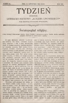 """Tydzień : dodatek literacko-naukowy """"Kurjera Lwowskiego"""". 1905, nr46"""