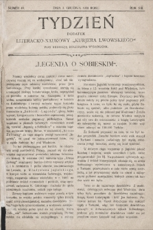 """Tydzień : dodatek literacko-naukowy """"Kurjera Lwowskiego"""". 1905, nr49"""