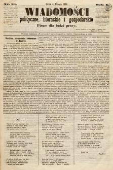 Wiadomości Polityczne, Literackie iGospodarskie : pismo dla ludzi pracy. 1869, nr10