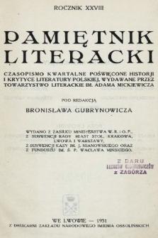 Pamiętnik Literacki : czasopismo kwartalne poświęcone historyi i krytyce literatury polskiej. R. 28, 1931, z. 1-4