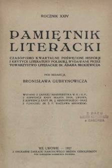 Pamiętnik Literacki : czasopismo kwartalne poświęcone historyi i krytyce literatury polskiej. R. 24, 1927, z. 1-4