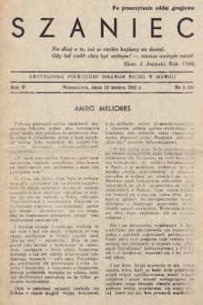 Szaniec : dwutygodnik poświęcony sprawom Polski w niewoli. R.5, nr5 (12 marca 1943) = nr 96