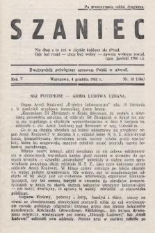 Szaniec : dwutygodnik poświęcony sprawom Polski w niewoli. R.5, nr15 (4 grudnia 1943) = nr 106 [i.e.104]
