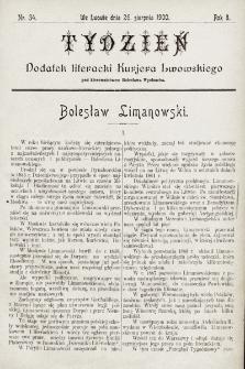 """Tydzień : dodatek literacki """"Kurjera Lwowskiego"""". 1900, nr34"""