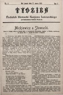 """Tydzień : dodatek literacki """"Kurjera Lwowskiego"""". 1901, nr11"""