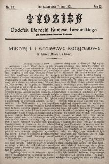 """Tydzień : dodatek literacki """"Kurjera Lwowskiego"""". 1901, nr27"""