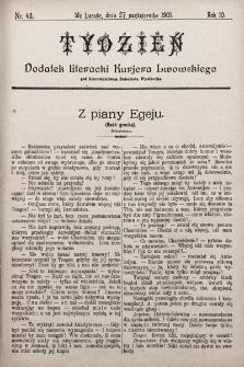 """Tydzień : dodatek literacki """"Kurjera Lwowskiego"""". 1901, nr43"""
