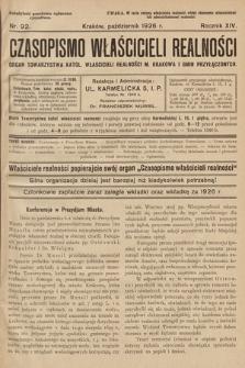 Czasopismo Właścicieli Realności. 1926, nr 92