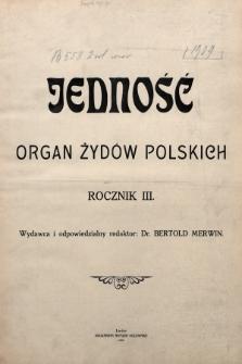 Jedność : organ żydów polskich. 1909 [całość]